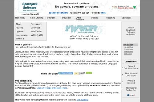 yWriter - Textprogramm